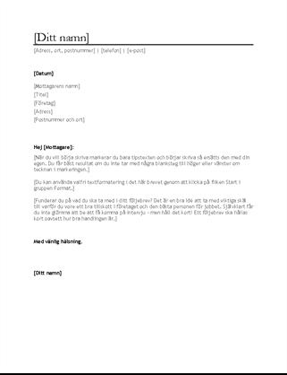 Följebrev för CV