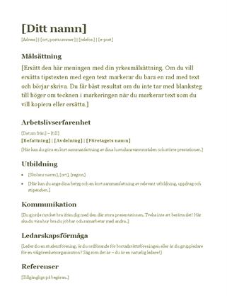 Meritförteckning (grön)