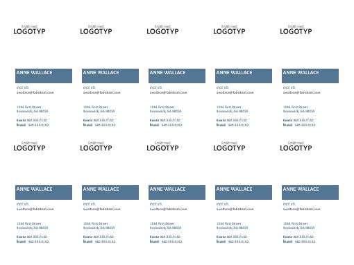 Visitkort, lodrät layout med logotyp (10 per sida)