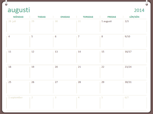 Akademisk kalender 2014–2015 (september–augusti)