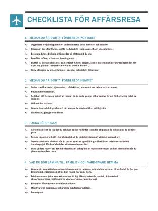 Checklista för affärsresor