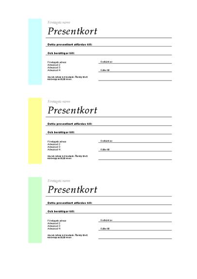 Presentkort (olika färger, 3 stycken per sida)