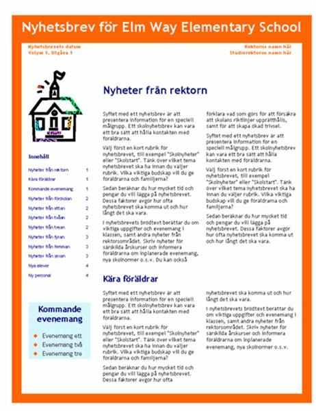 Skolans nyhetsbrev (3 kol., 4 sid.)