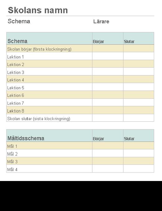 Lista över lektionslängder