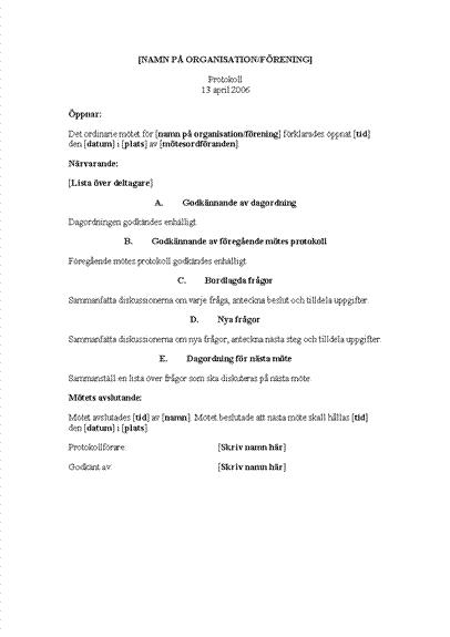 Organisationsmöten i minuter (långt formulär)
