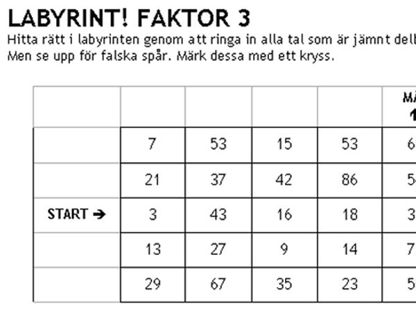Labyrint med siffror, svårighetsgrad 1, faktor 3