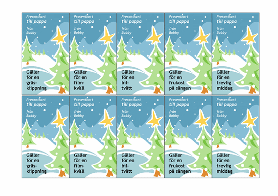Presentkort (med vinterlandskap, fungerar med Avery 5871, 8871, 8873, 8876 och 8879)