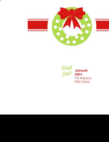CD/DVD-etikett – helgdag (röd julklappsdesign, fungerar med Avery 5692, 5931, 8692, 8694 och 8965)