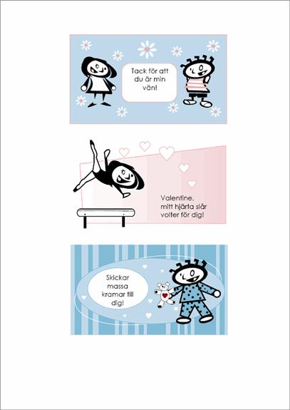 Alla hjärtans dag-kort som barnen gör själva (fyra sidor med olika korttyper och en gemensam baksida)
