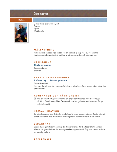 Meritförteckning, foto (Median)