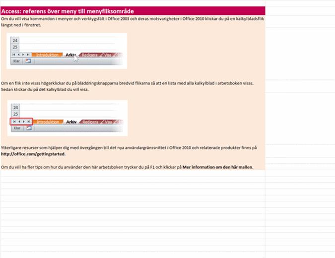Access 2010: referensarbetsbok över meny till menyfliksområde