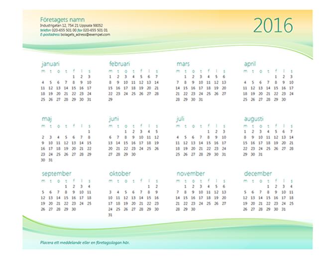 Kalender för små företag (valfritt år)