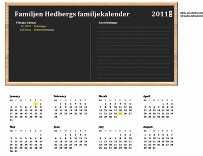 Familjekalender (valfritt år, måndag till söndag)