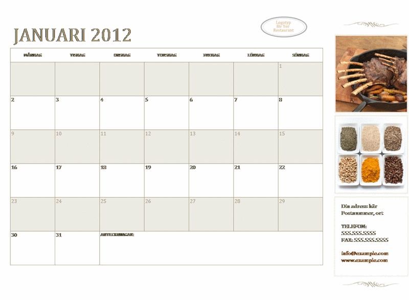 Kalender för mindre företag (valfritt år, måndag till söndag)