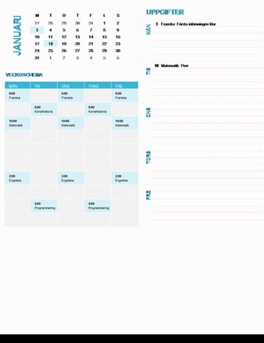 Veckoplaneringskalender för studenter (valfritt år, måndag till söndag)