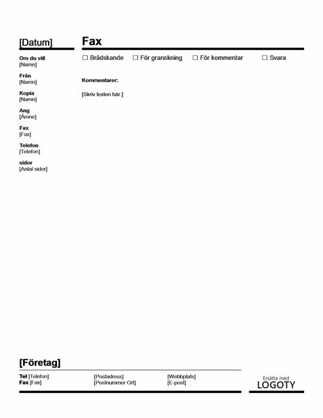 Försättsblad för fax (rött och svart)