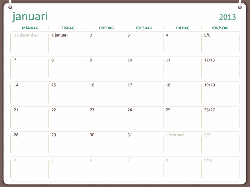 Planeringskalender för 2013 (mån–sön)