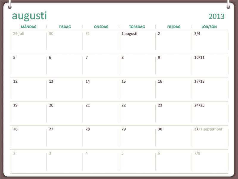 Akademisk kalender 2013–2014 (augusti)