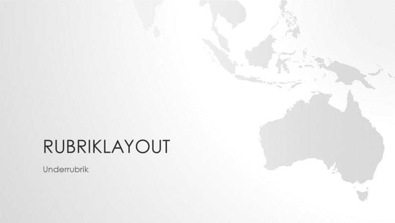 Världskarteserien, presentation md den australiska kontinenten (bredskärm)