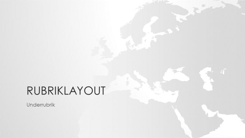 Presentation i världskarteserien, Europa (bredbildsformat)