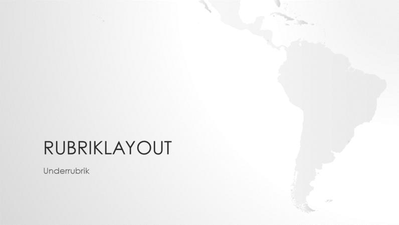 Världskarteserien, presentation av den sydamerikanska kontinenten (bredbild)