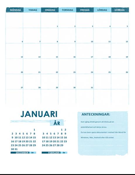 Akademisk kalender (en månad, valfritt år, börjar med måndag)
