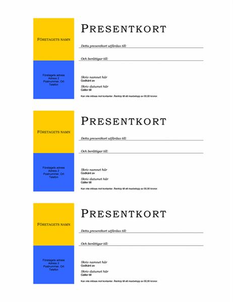 Presentkort (ingen kantlinje, 3 stycken per sida)