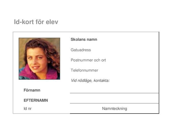 ID-kort för elev
