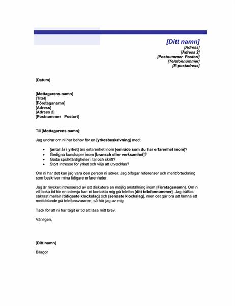 Följebrev utan referens till annons (Blå linje)