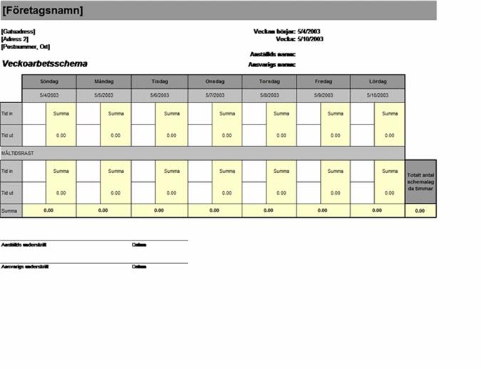 Veckoarbetsschema