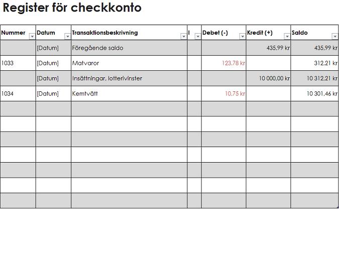 Register för checkkonto (enkelt)