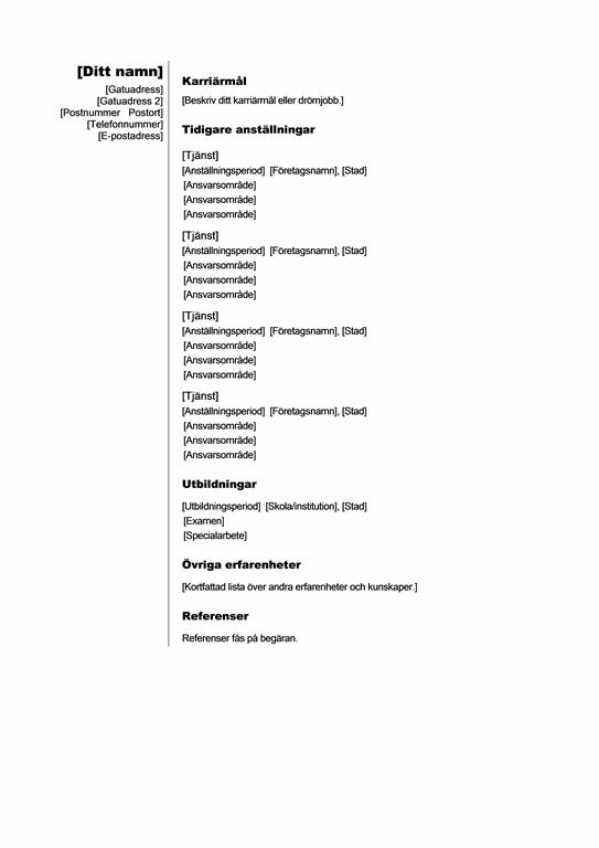 Kronologisk meritförteckning (Lodrät)