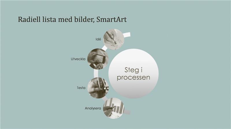 SmartArt över process med radiell bildlista (bredbildsformat)