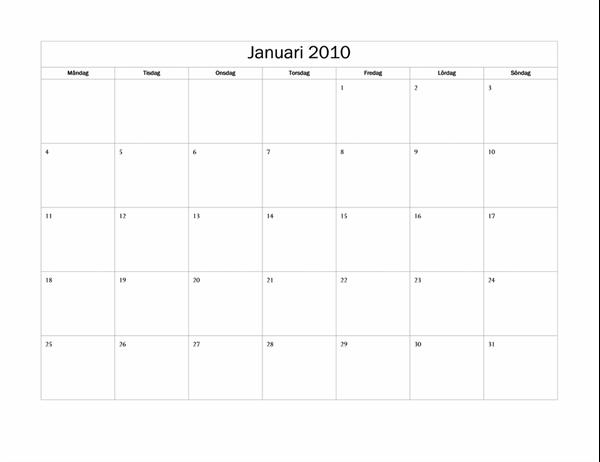 Kalender för 2010 (enkel, må-sö)