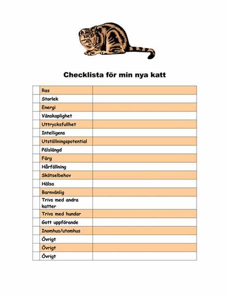 Checklista för min nya katt