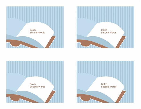Glossnabbkort (Dolch Second Grade-ord; baksida; fungerar med Avery 3263, 8387)