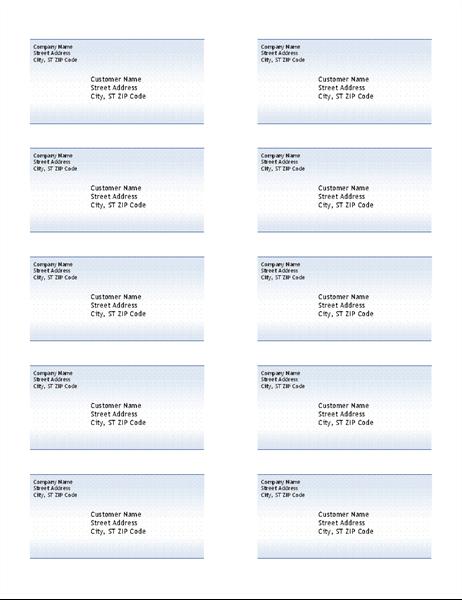 Adressetiketter (design Blå toning, 10 per sida)