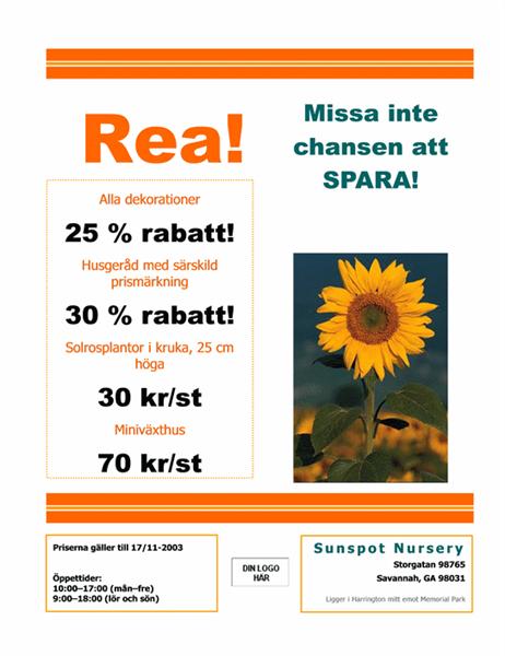 Flygblad för plantskola