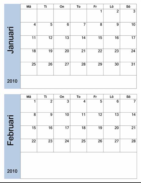 Kalender för 2010 med blå kant (6 sidor, må-sö)