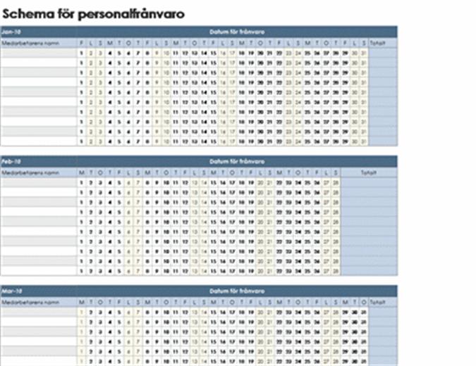 Schema för personalfrånvaro 2010