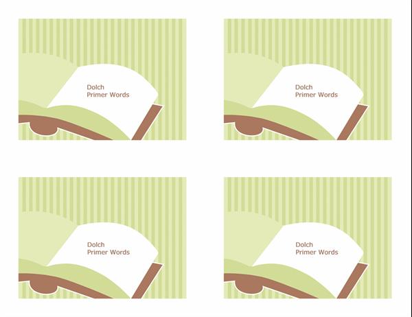 Glossnabbkort (Dolch Primer-ord; baksida; fungerar med Avery 3263, 8387)