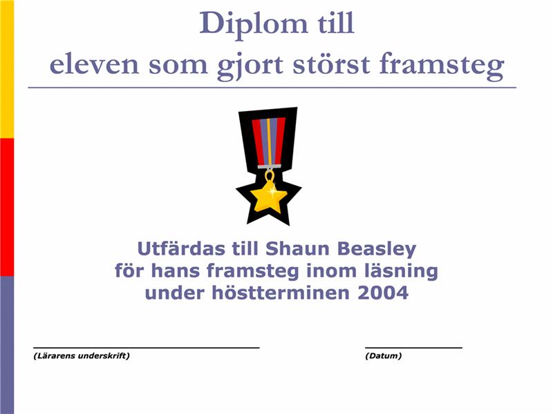 Diplom för störst framsteg