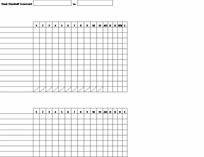 Enkelt resultatkort för baseball