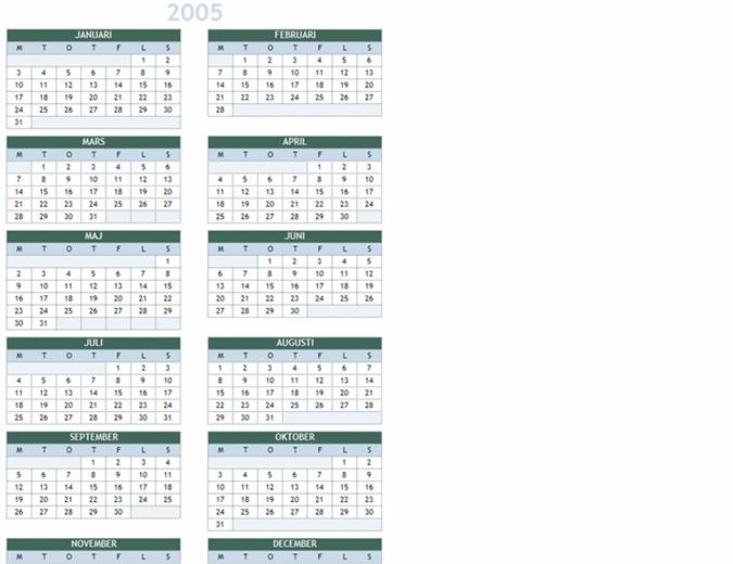 Årskalender 2005–2014 (mån–sön)