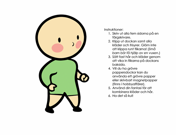Pappersdockor (pojke, nr 3)