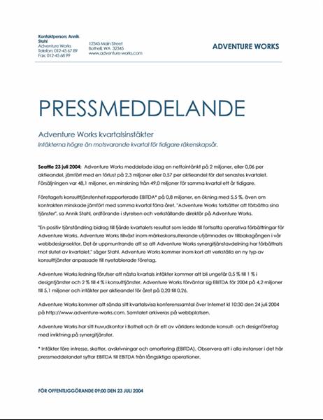 Pressmeddelande – kvartalsrapport