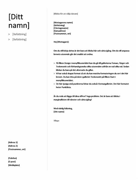 Följebrev för kronologisk meritförteckning (enkel design)