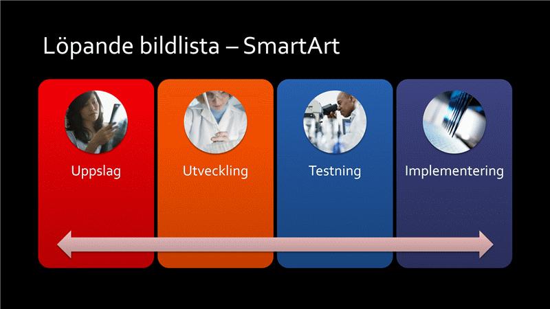 Presentationsbild med SmartArt av kontinuerlig bildlista (flerfärg på svart), bredbildsformat
