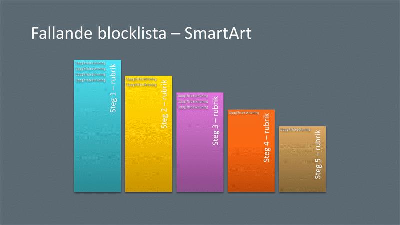 Presentationsbild med SmartArt av fallande block (flerfärg på grått), bredbildsformat