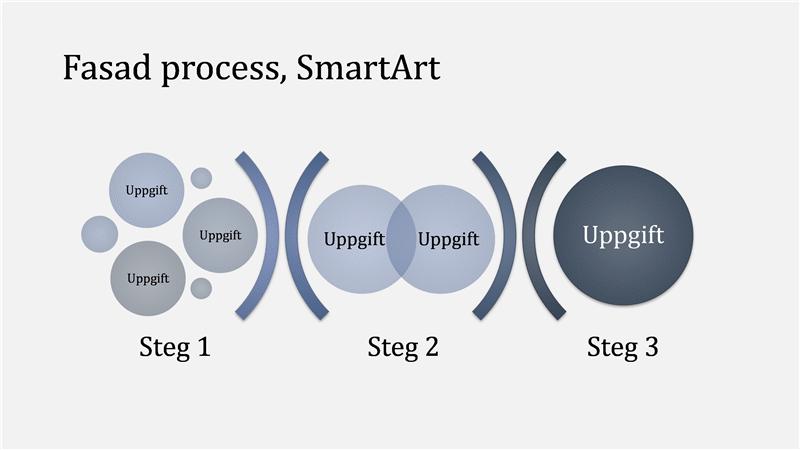 Process med olika faser med SmartArt-grafik (ljus/mörkblå), bredbildsformat